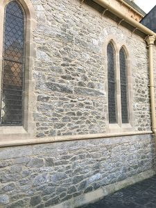 Repointing of church wall
